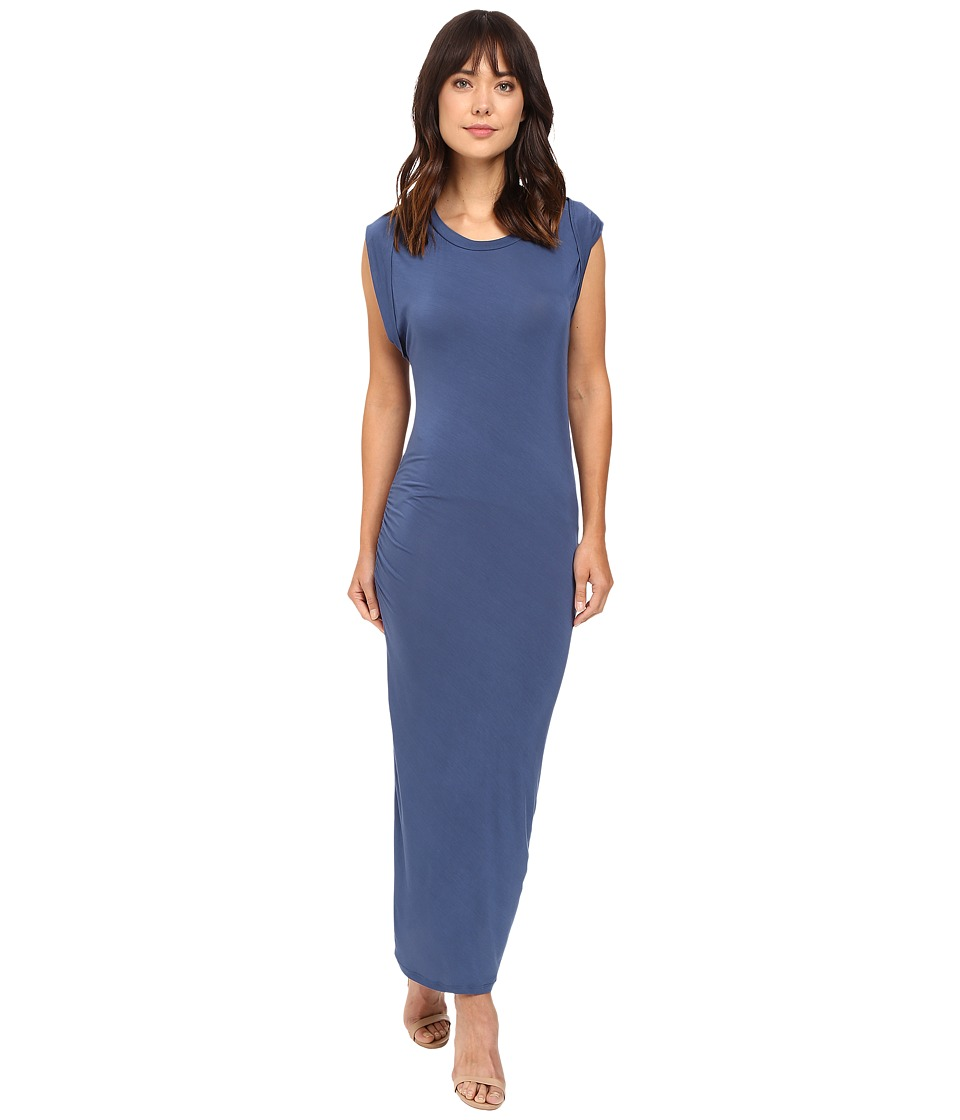 HEATHER - Roll Sleeve Midi Dress (Harbor) Women's Dress