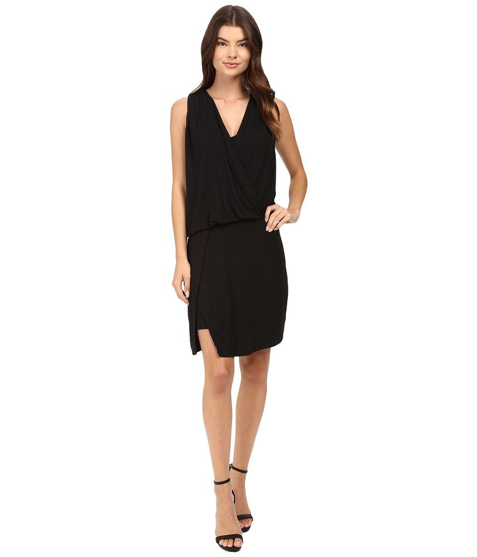 HEATHER - Wrap Front Dress (Black) Women's Dress