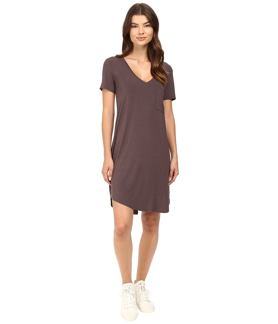 HEATHER - V-Neck Pocket Tee Dress (Oak) Women's Dress