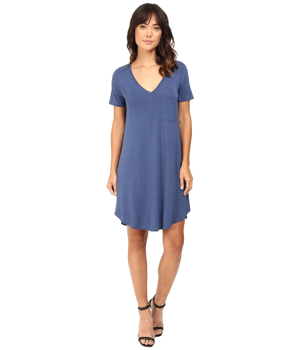 HEATHER - V-Neck Pocket Tee Dress (Harbor) Women's Dress