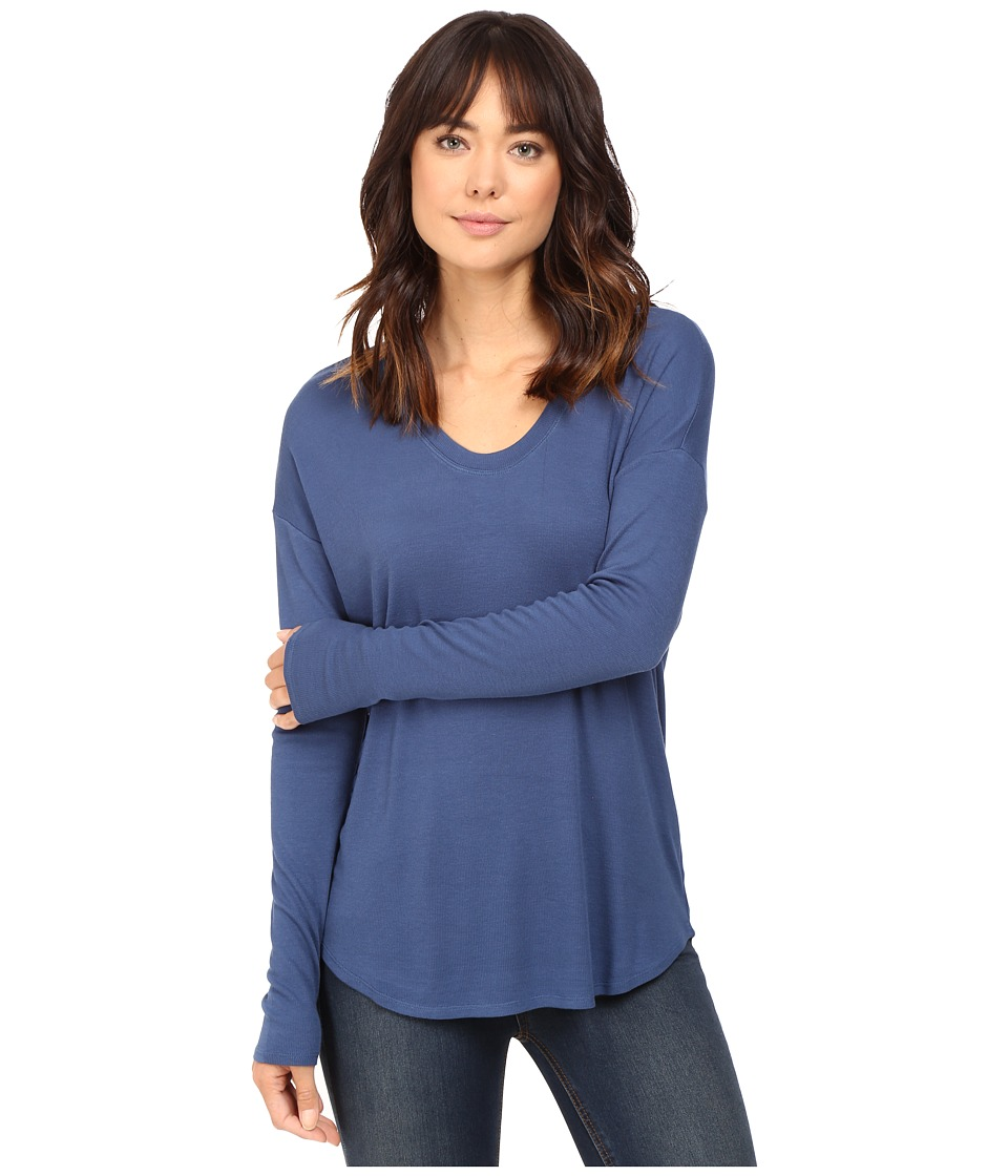 HEATHER - Long Sleeve Rib Shirt Tail Tee (Harbor) Women's Long Sleeve Pullover