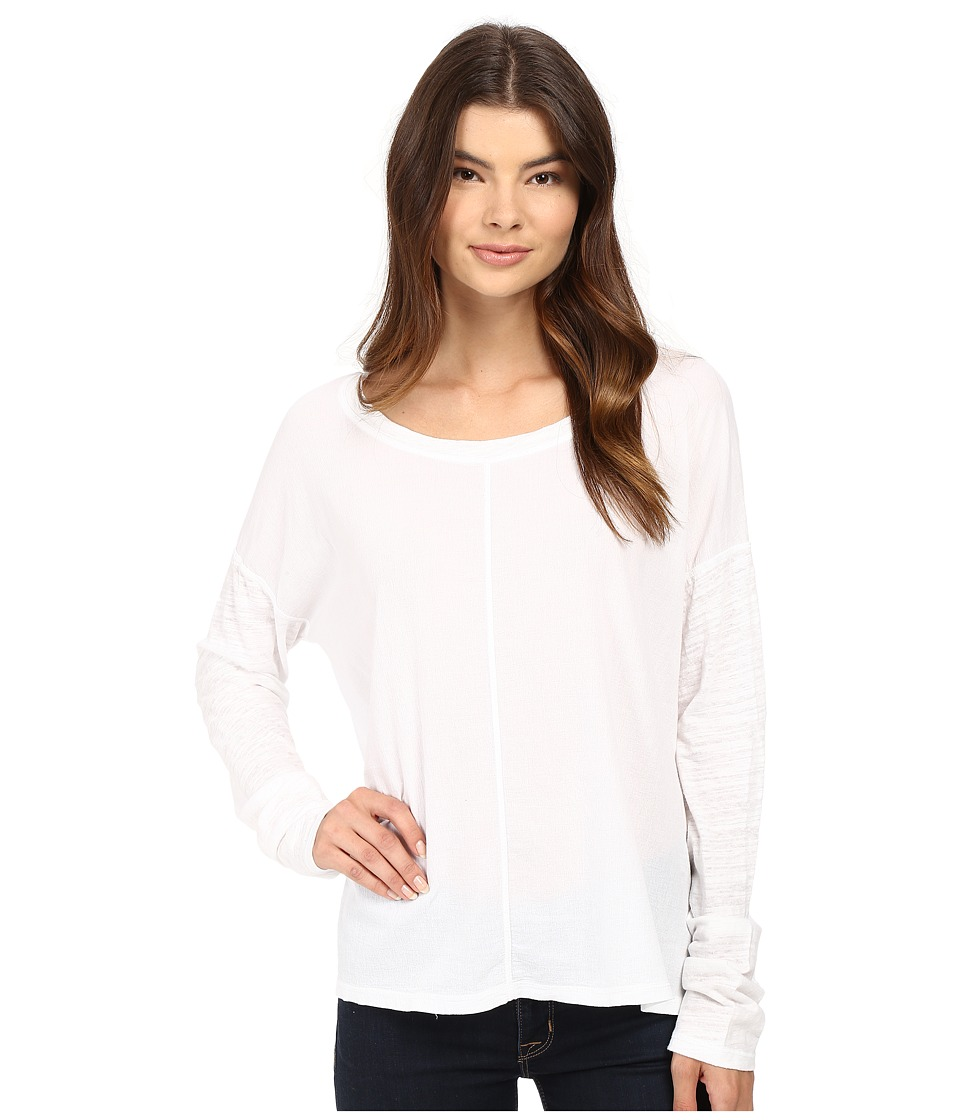 HEATHER - Cotton Gauze Long Sleeve Boxy Tee (White) Women's T Shirt
