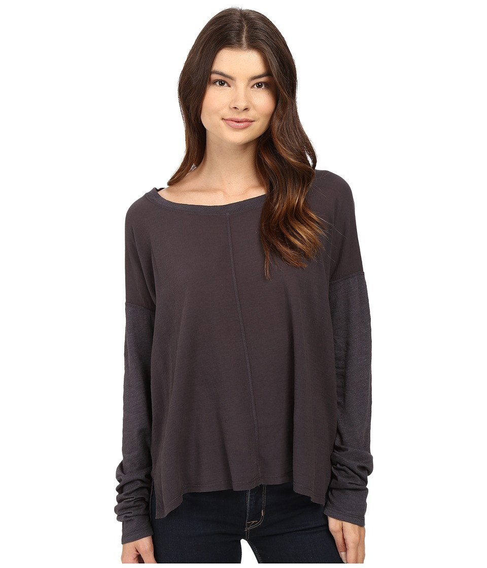 HEATHER - Cotton Gauze Long Sleeve Boxy Tee (Smoke) Women's T Shirt