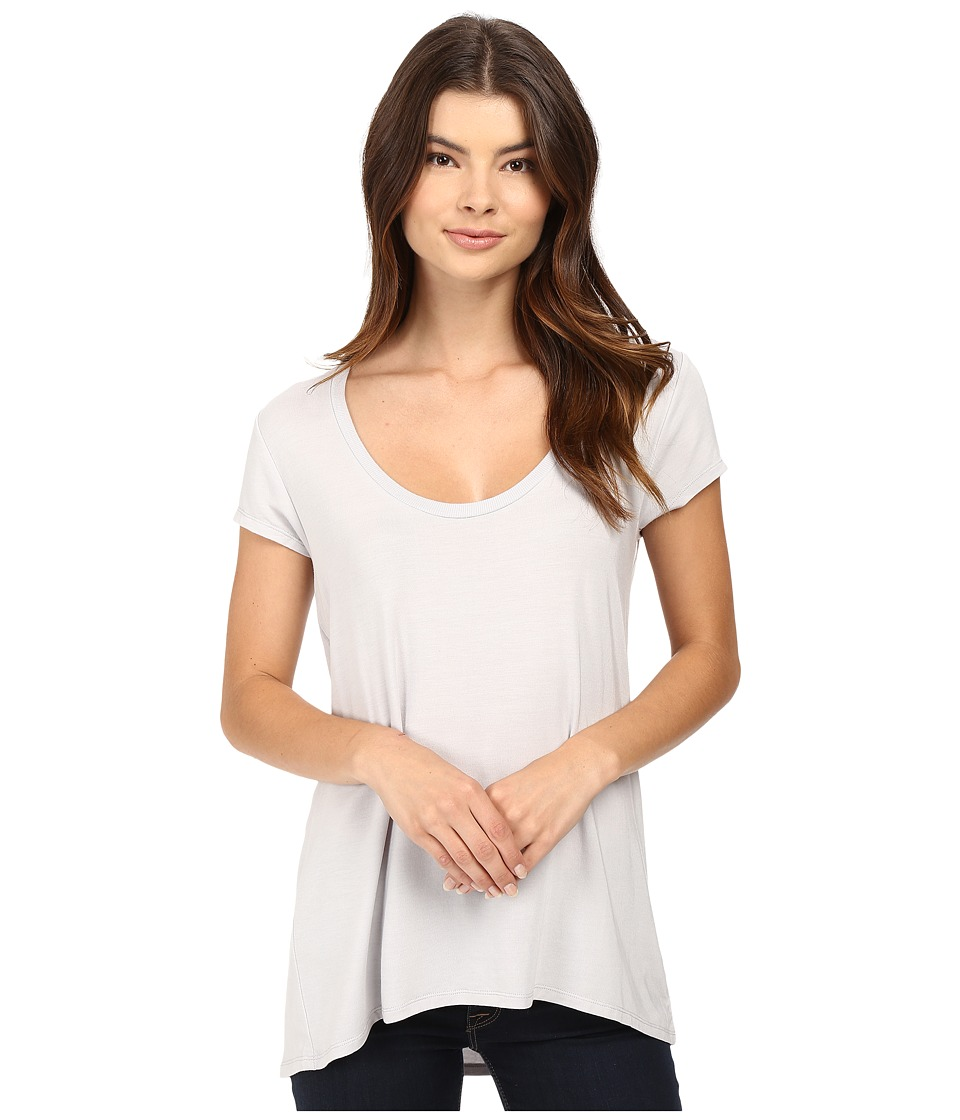HEATHER - Scoop Neck Tee (Silver) Women's Short Sleeve Pullover