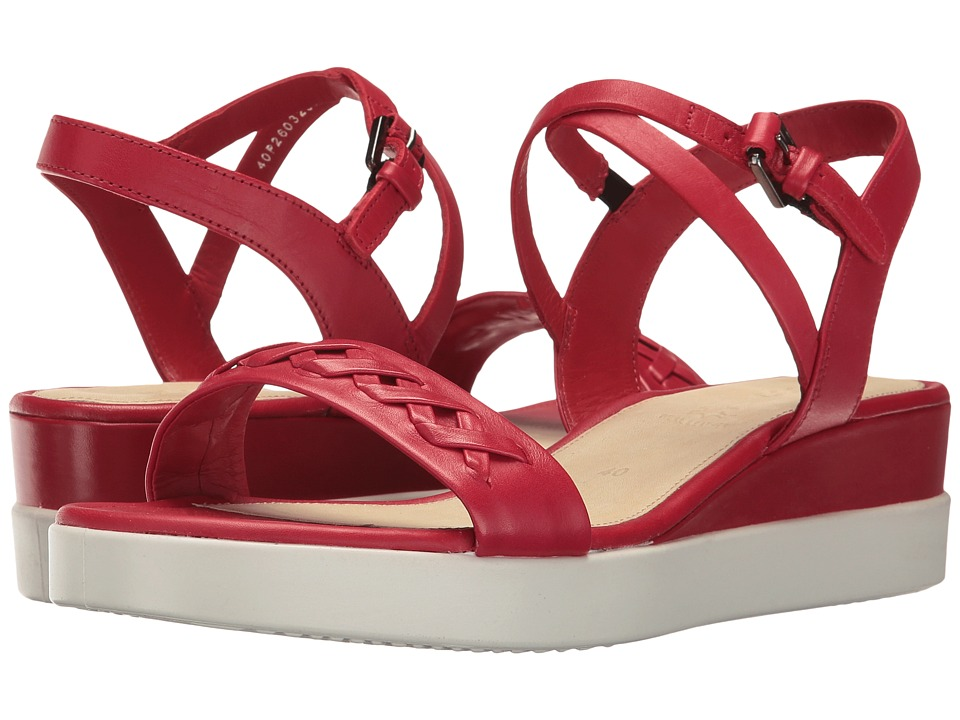 ECCO - Touch Braided Plateau (Chili Red Calf Leather) Women's Sandals