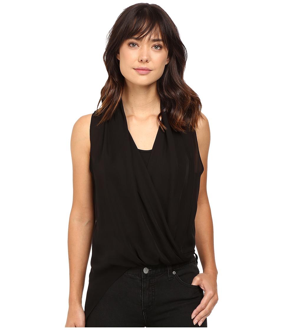 HEATHER - Silk Side Zip Drape Top (Black) Women's Clothing