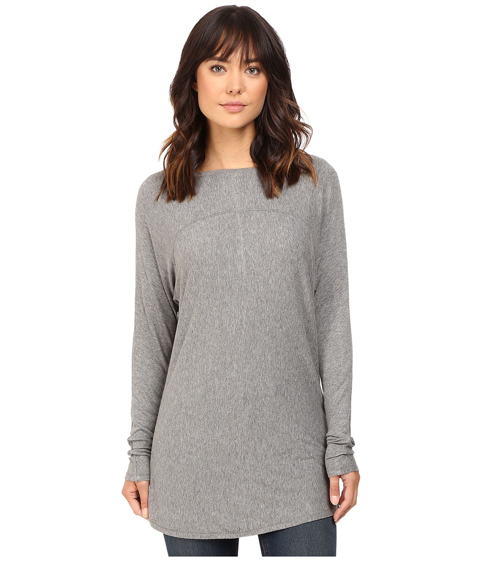 HEATHER - Long Sleeve Drape Front Panel Back Top (Light Heather Grey) Women's Clothing