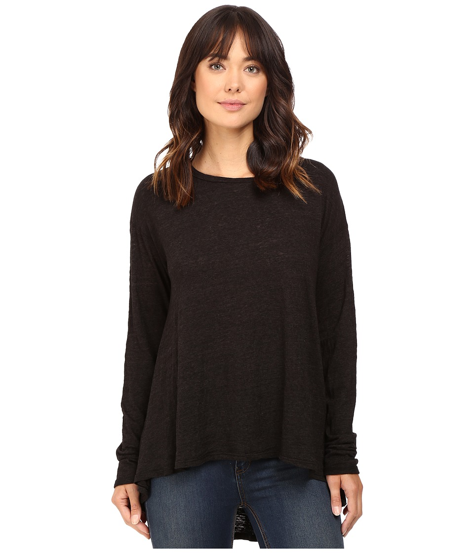 HEATHER - Cotton Long Sleeve Swing Top (Black) Women's Clothing
