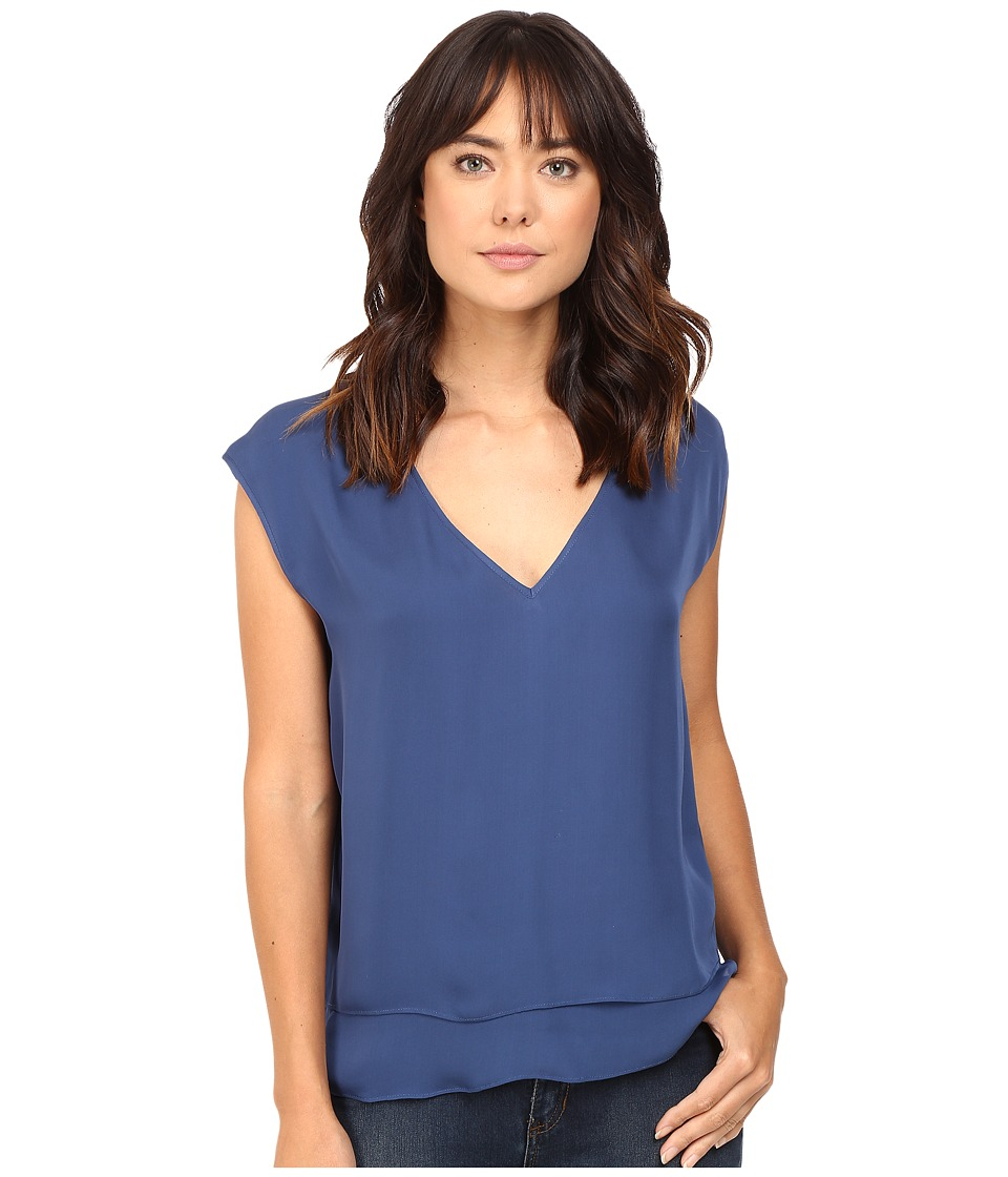 HEATHER - Silk Double Layer V-Neck Top (Harbor) Women's Blouse
