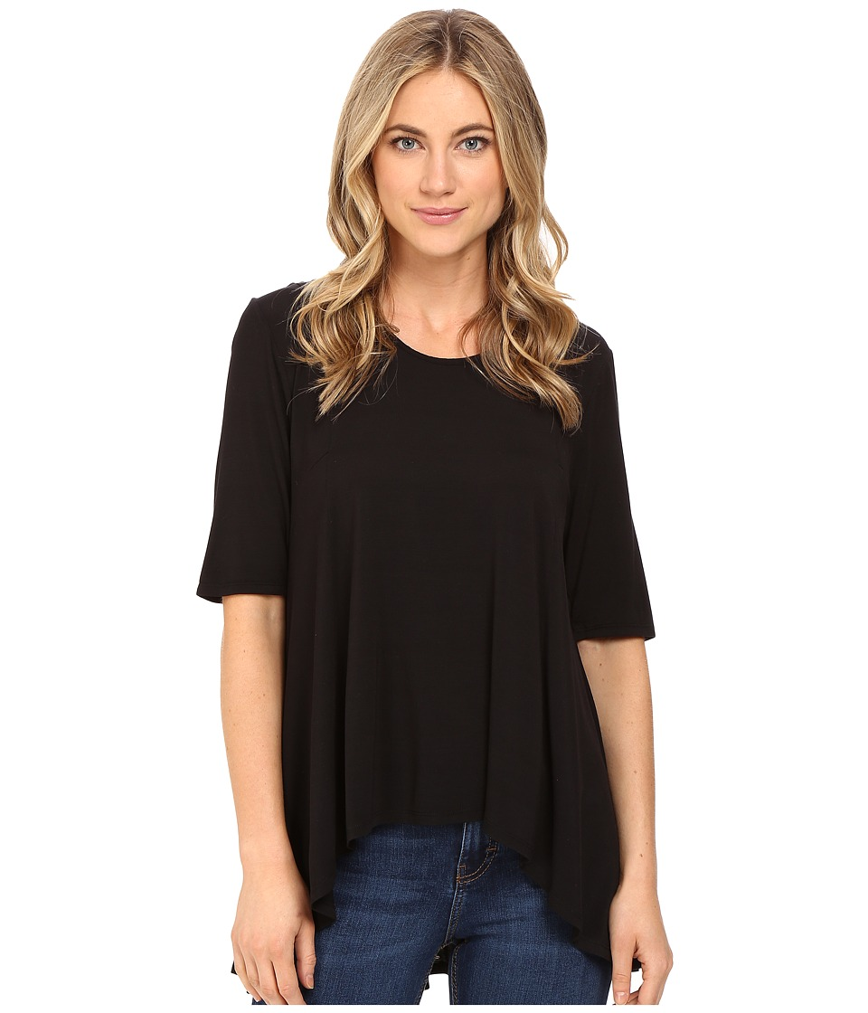 HEATHER - 3/4 Sleeve Panel Swing Top (Black) Women's Clothing