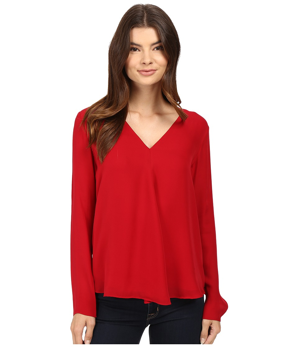 HEATHER - Silk Double Layer Long Sleeve Top (Crimson) Women's Clothing