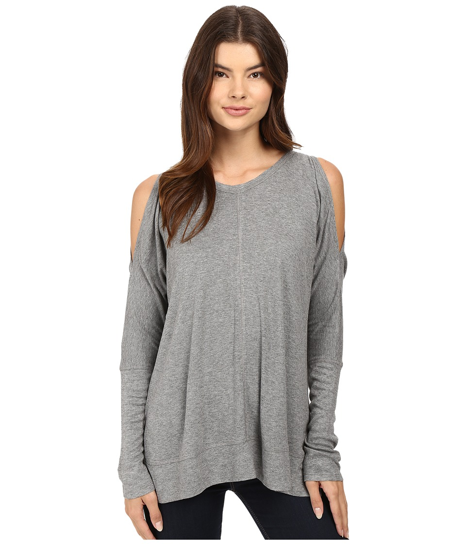 HEATHER - Long Sleeve Peekaboo Shoulder Boxy Top (Light Heather Grey) Women's Clothing