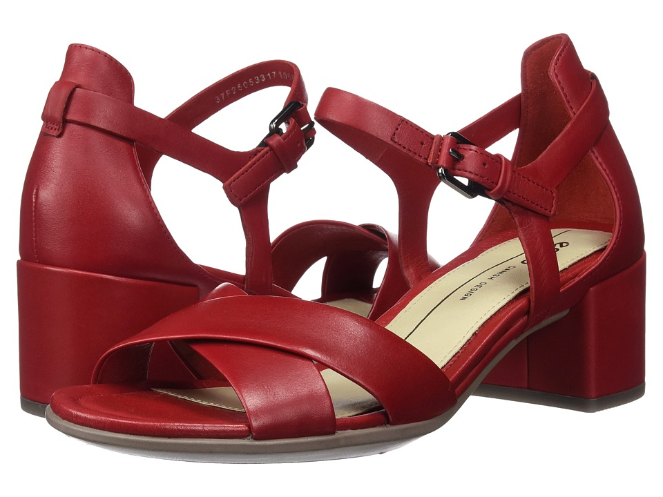 ECCO - Shape 35 Block Sandal (Chili Red Calf Leather) Women's 1-2 inch heel Shoes