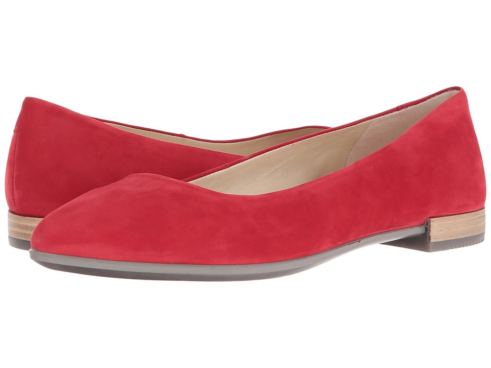 ECCO - Shape Pointy Ballerina (Chili Red Calf Nubuck) Women's Slip on Shoes