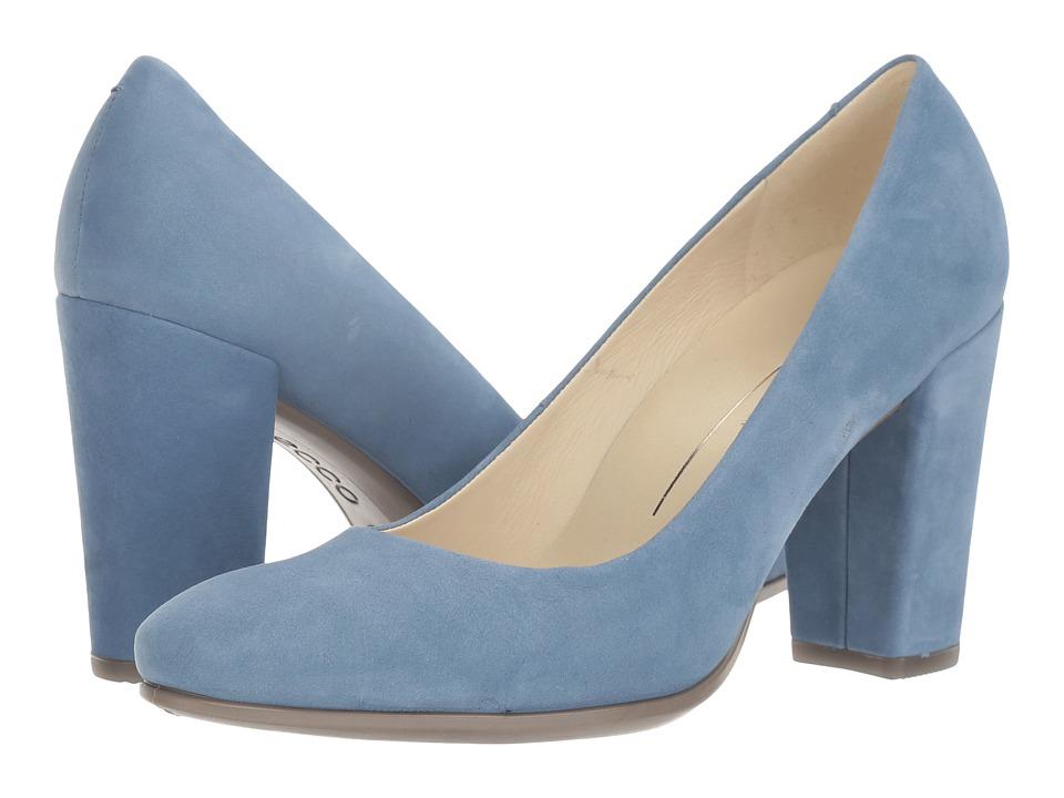 ECCO - Shape 75 Block Pump (Retro Blue Calf Nubuck) High Heels