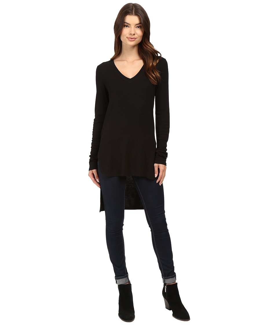 HEATHER - Long Sleeve V-Neck High-Low Tunic (Black) Women's Clothing