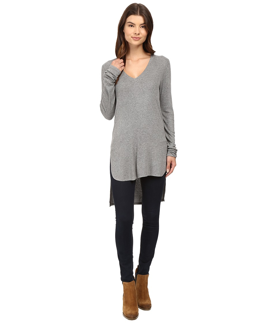 HEATHER - Long Sleeve V-Neck High-Low Tunic (Light Heather Grey) Women's Clothing