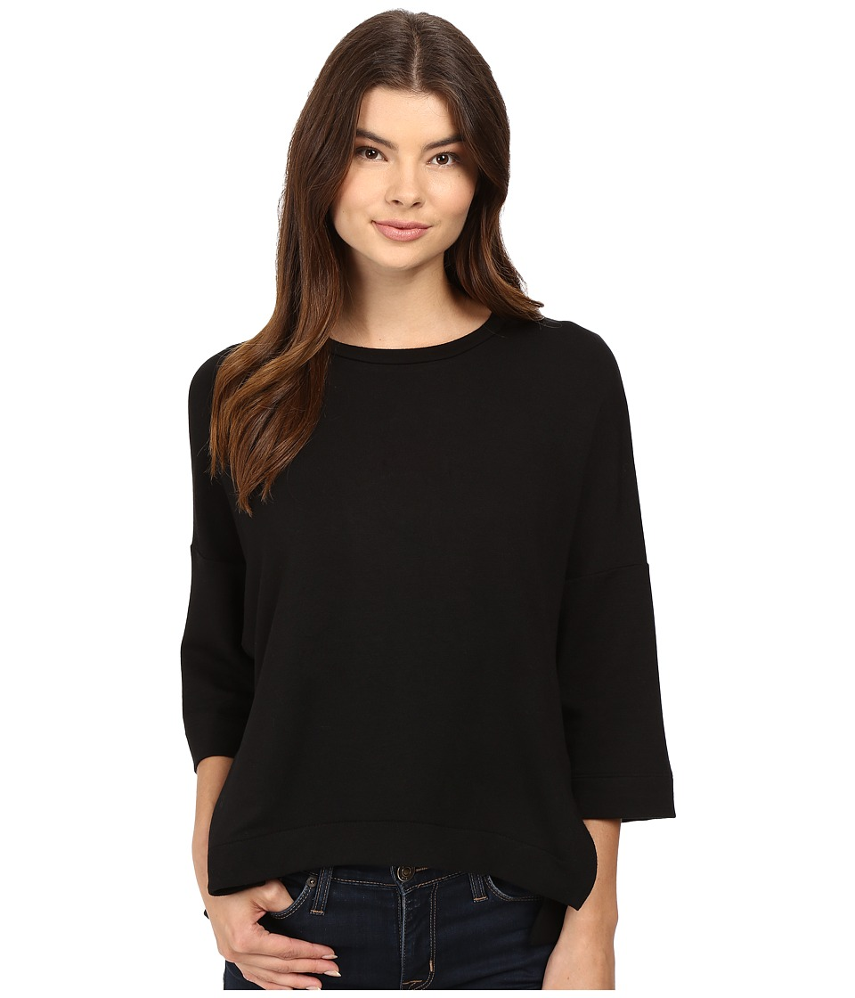 HEATHER - French Terry Wedge Pullover (Black) Women's Clothing
