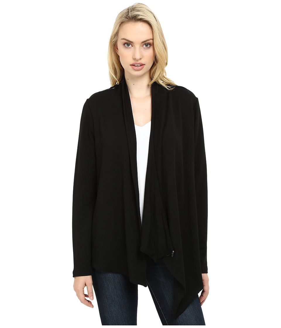 HEATHER - French Terry Shoulder Zip Jacket (Black) Women's Jacket
