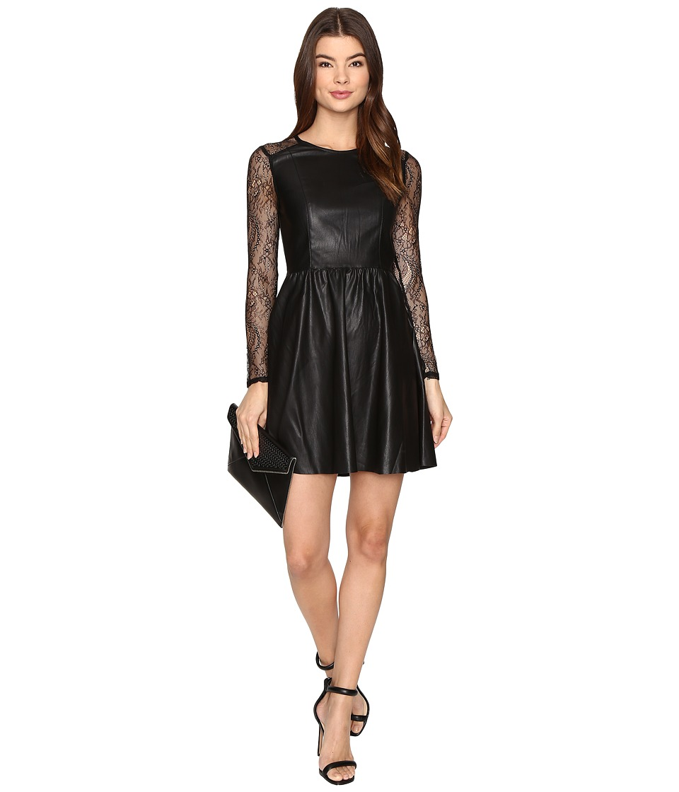 ONLY - Sara Faux Leather Mix Dress (Black) Women's Dress