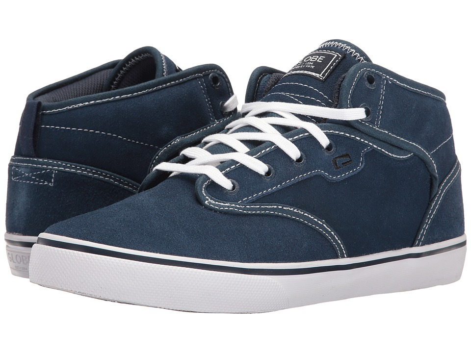 Globe - Motley Mid (Blue/White Shaved Suede) Men's Skate Shoes