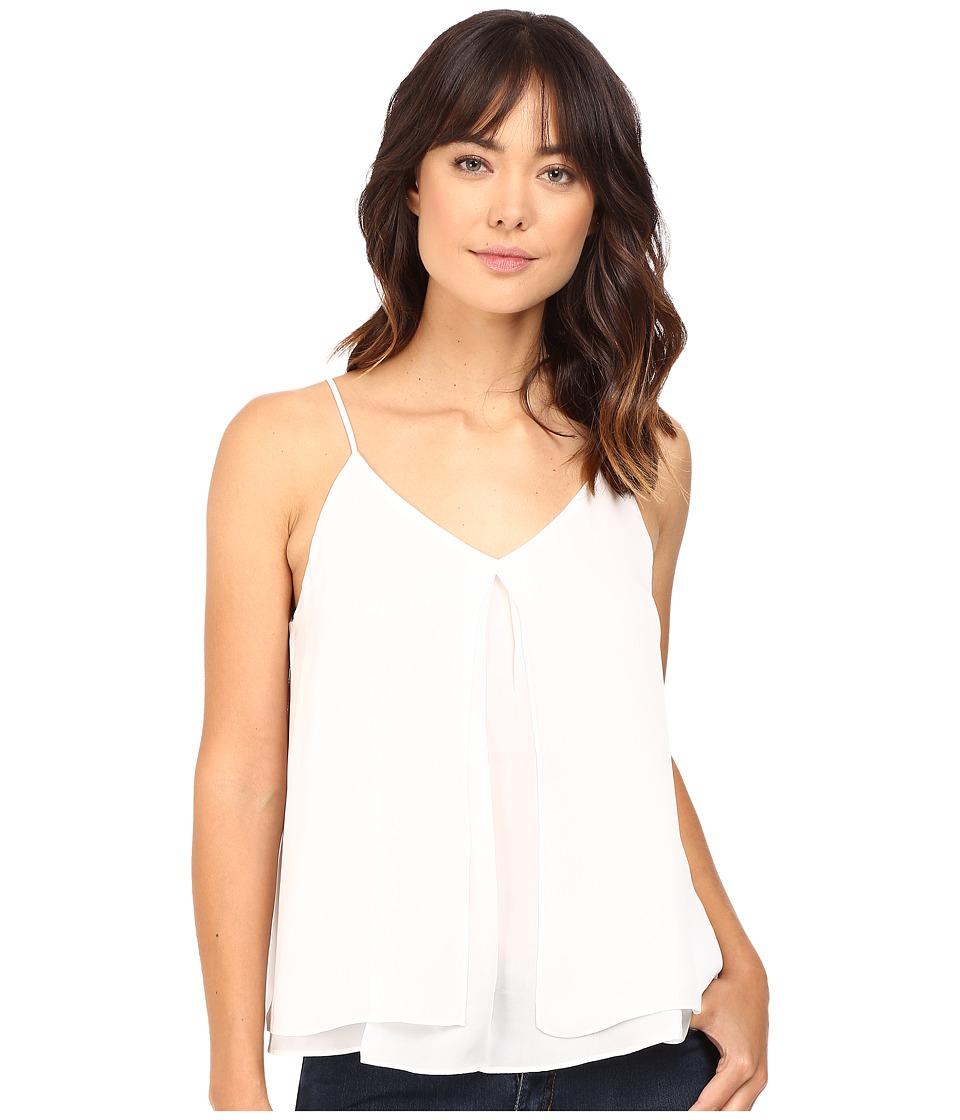 HEATHER - Silk Double Layer Pleat Front Cami (White) Women's Clothing