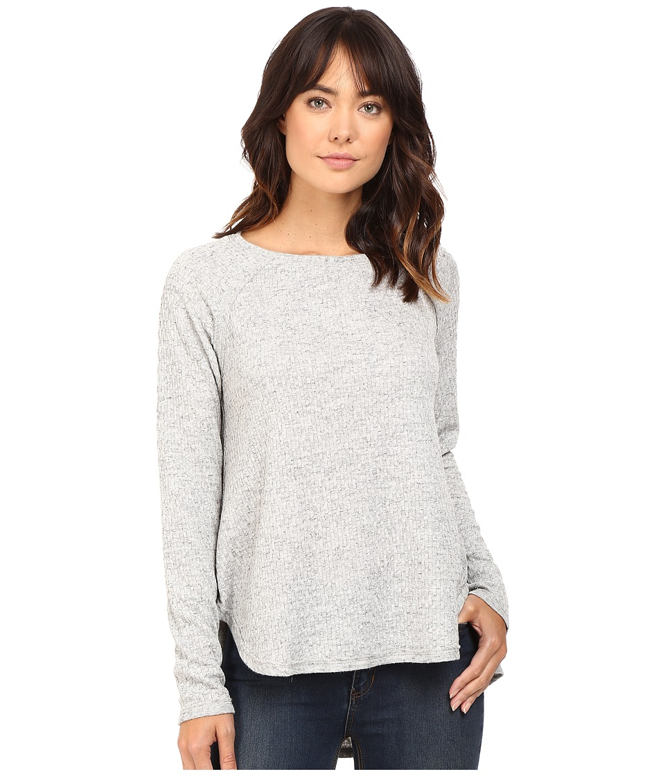 HEATHER - Basket Jacguard Raglan Pullover (Light Heather Grey) Women's Clothing