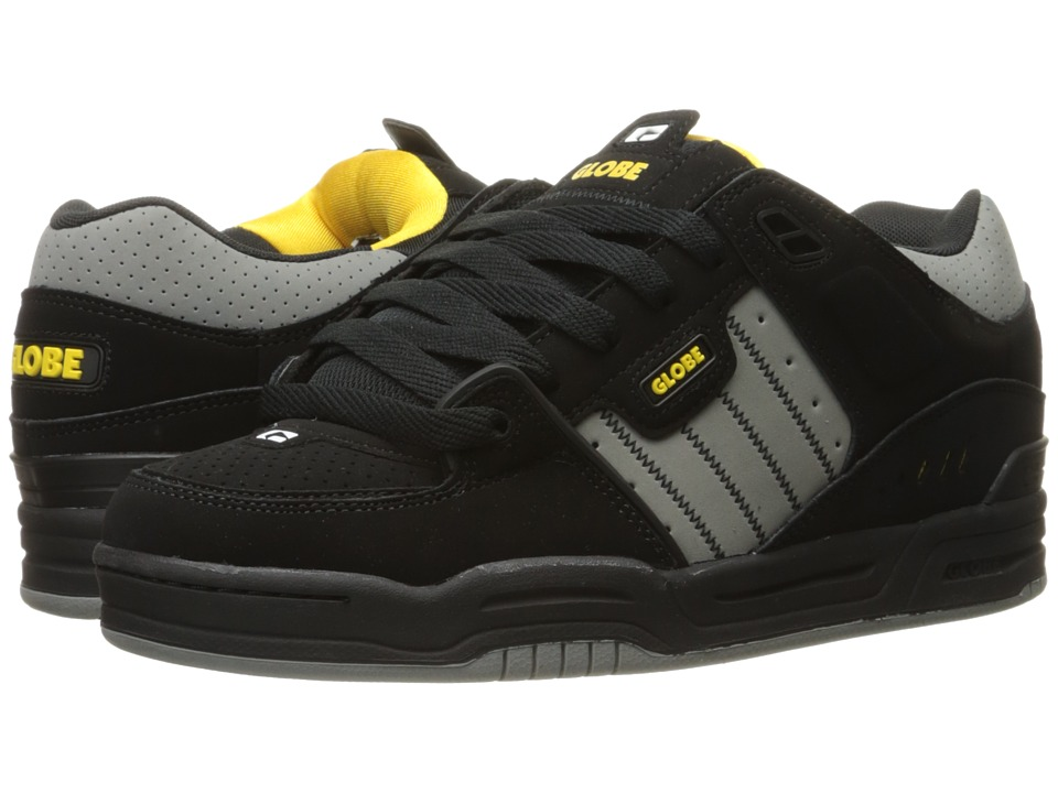 Globe - Fusion (Black/Grey/Yellow) Men's Skate Shoes