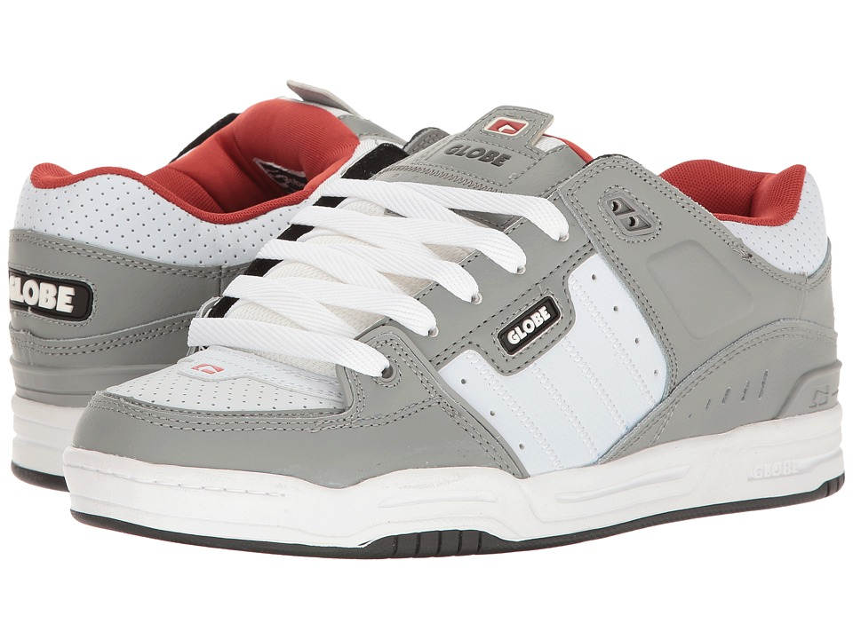 Globe - Fusion (Grey/White/Red) Men's Skate Shoes