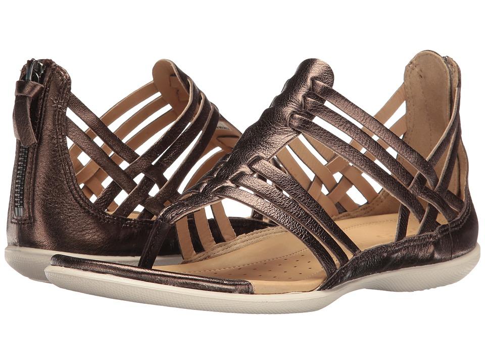 ECCO Flash Lattice T-Sandal (Licorice Cow Leather) Women