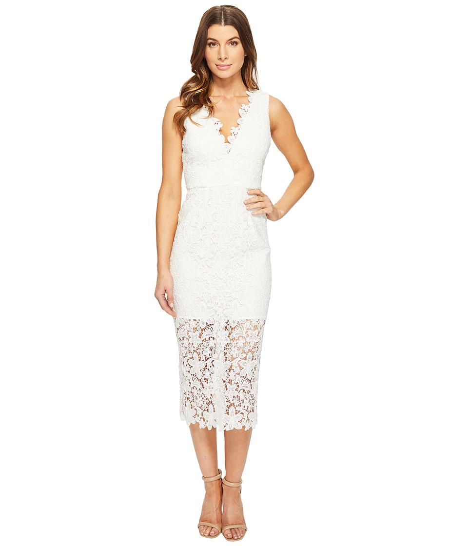 JILL JILL STUART All Over Lace Deep-V Midlength Dress (Off-White) Women