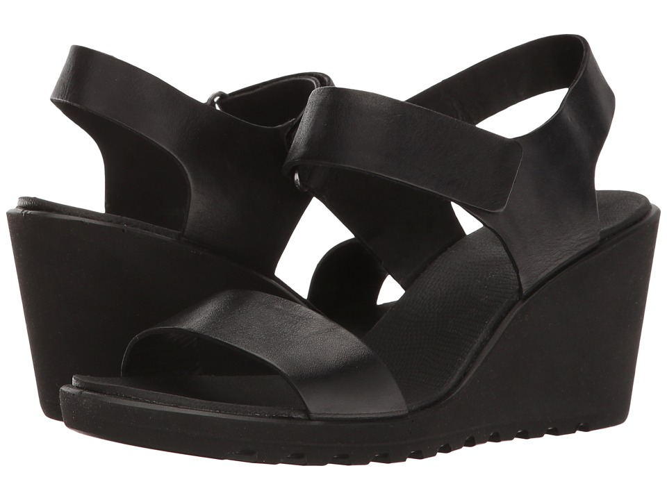 ECCO - Freja Wedge Strap Sandal (Black Cow Nubuck) Women's Sandals