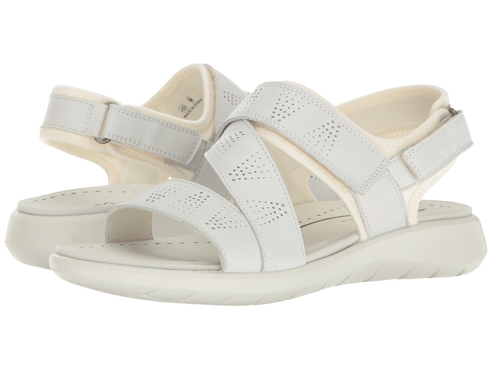 ECCO - Soft 5 Cross-Strap Sandal (White/White Cow Leather/Textile) Women's Sandals