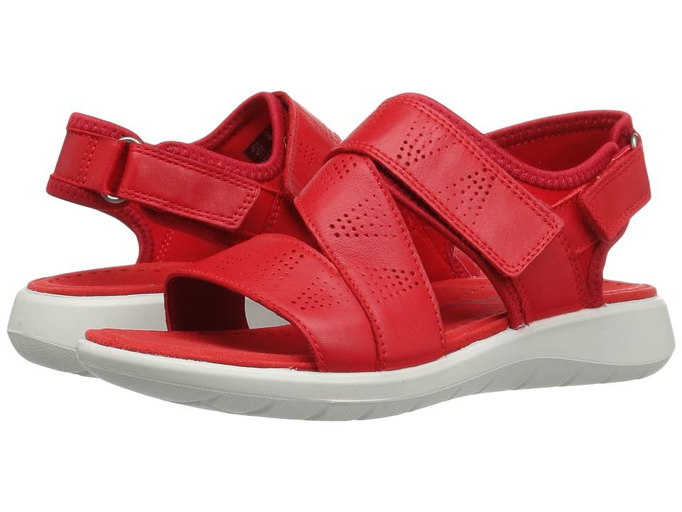 ECCO - Soft 5 Cross-Strap Sandal (Tomato/Tomoto Cow Leather/Textile) Women's Sandals