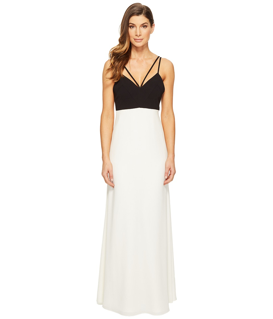 JILL JILL STUART - Strappy Two-Tone Gown (Black/Off-White) Women's Dress