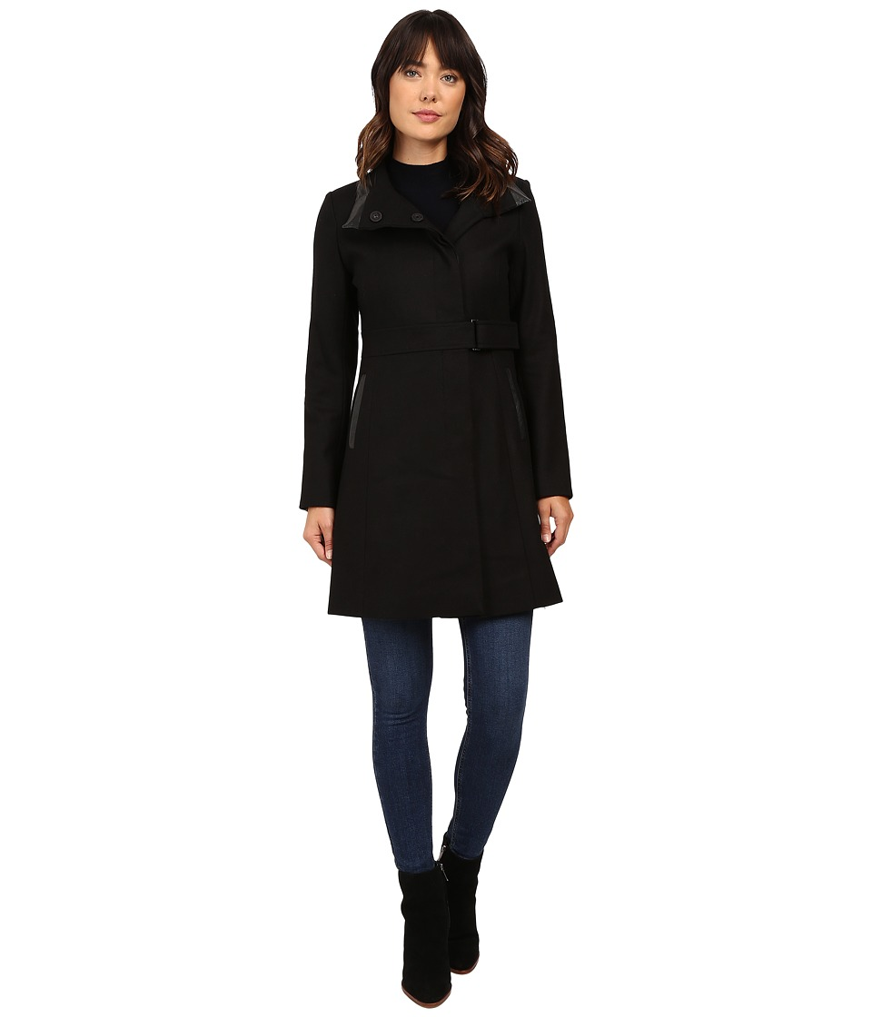 Via Spiga - Stand Collar with PU Detail (Black) Women's Coat