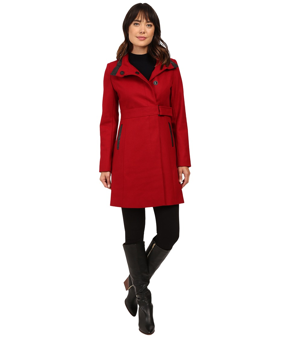 Via Spiga - Stand Collar with PU Detail (Via Red) Women's Coat