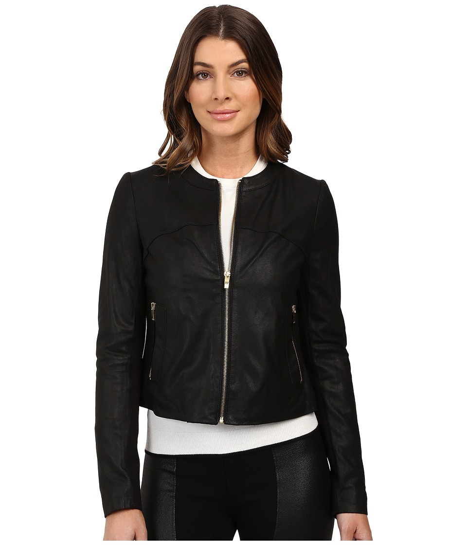 Via Spiga - Collarless Center Zip Leather Jacket (Black) Women's Coat