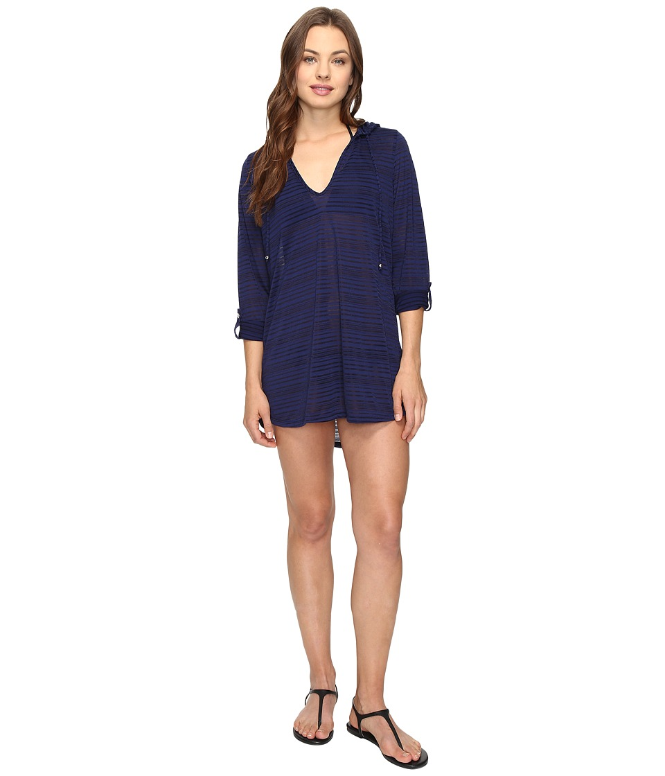 Nautica - Soho Stripe Hooded Tunic Cover-Up (Navy) Women's Swimwear