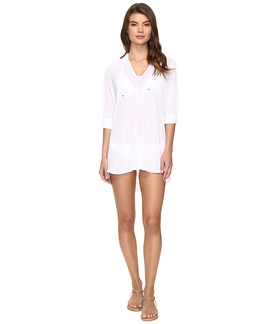 Nautica Soho Stripe Hooded Tunic Cover-Up White Swimwear