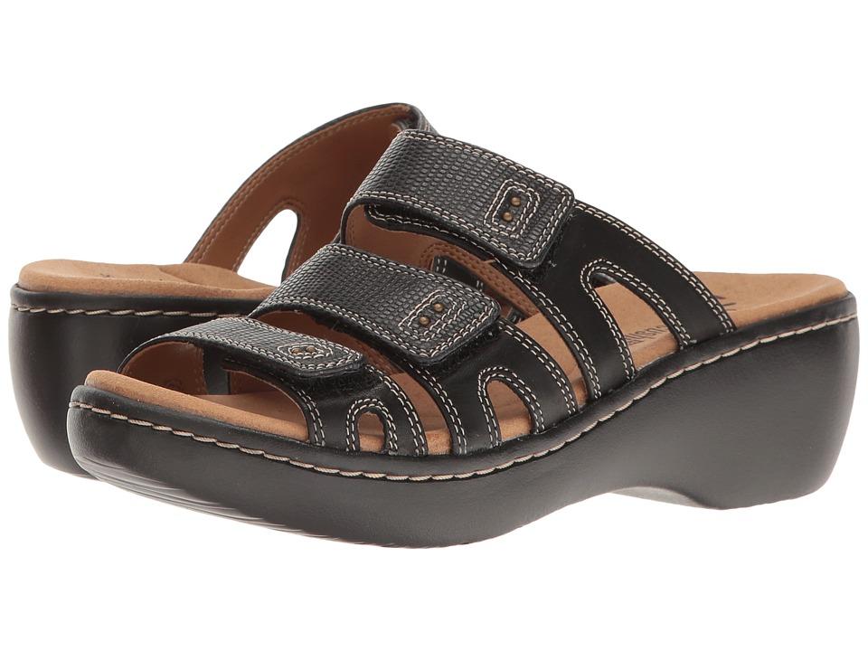 Clarks - Delana Damir (Black Leather Combi) Women's Sandals