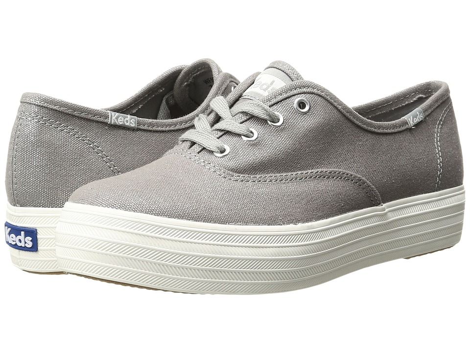 Keds - Triple Metallic Canvas (Silver) Women's Slip on Shoes