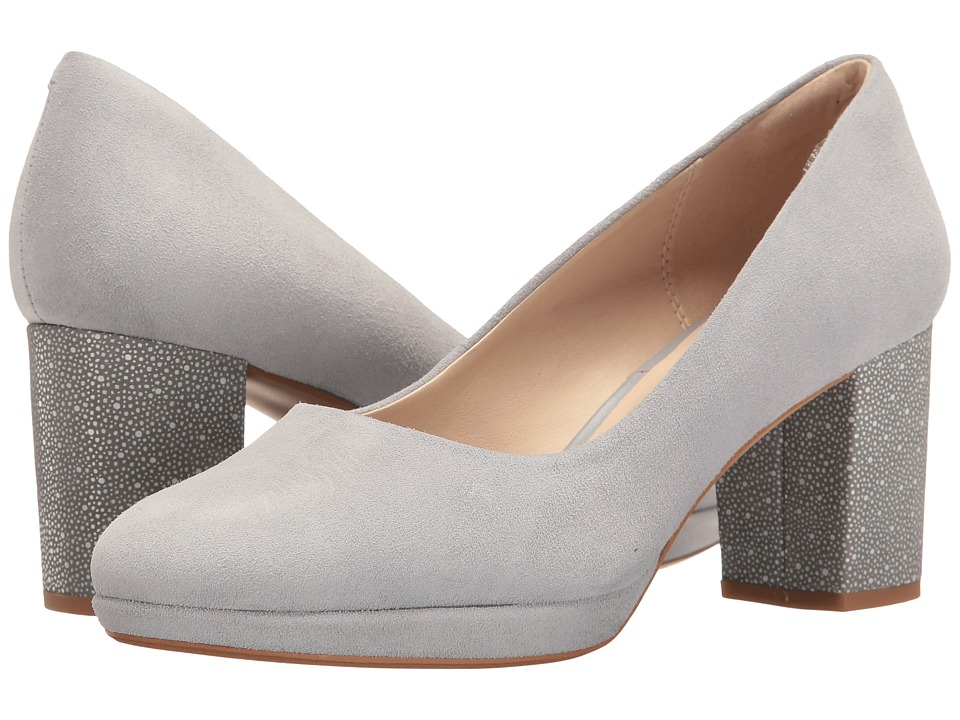 Clarks - Kelda Hope (Grey/Blue Suede) Women's Shoes