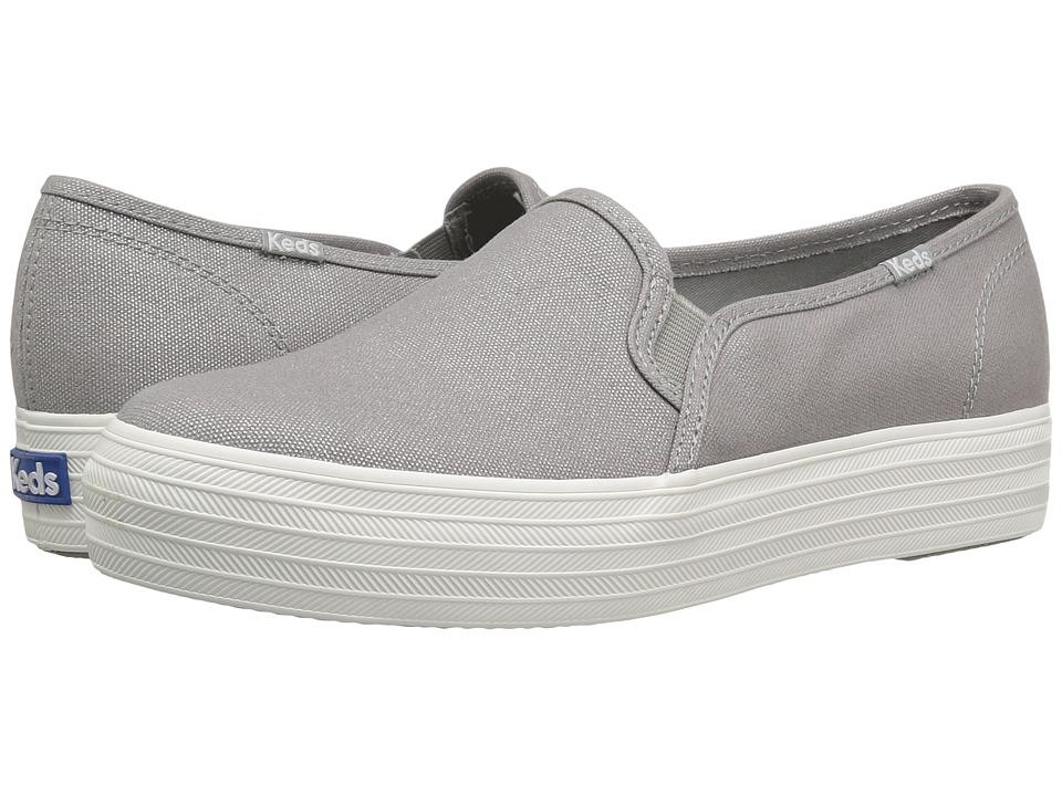 Keds - Triple Decker Metallic Canvas (Silver) Women's Slip on Shoes
