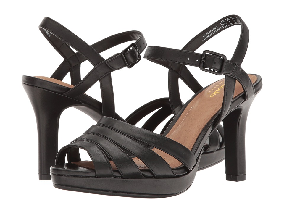 Clarks - Mayra Poppy (Black Leather) Women's Sandals