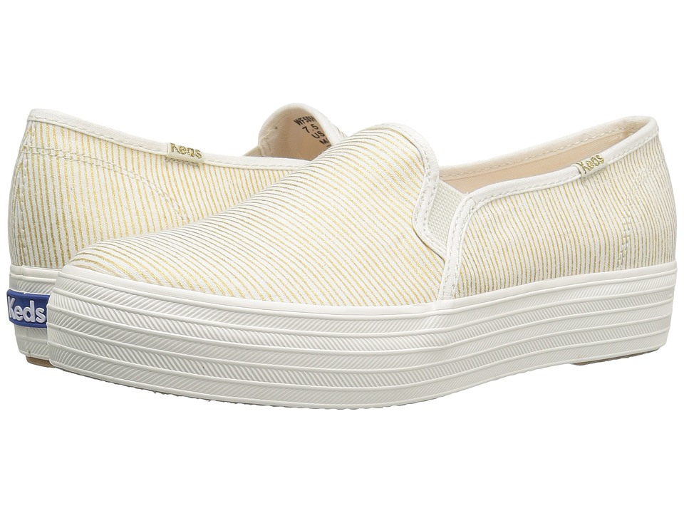 Keds - Triple Decker Metallic Stripe (Natural/Gold) Women's Slip on Shoes