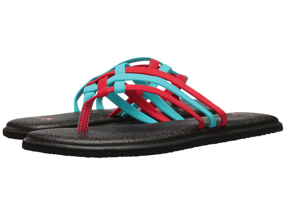 Sanuk - Yoga Salty (Aqua/Bright Red) Women's Sandals