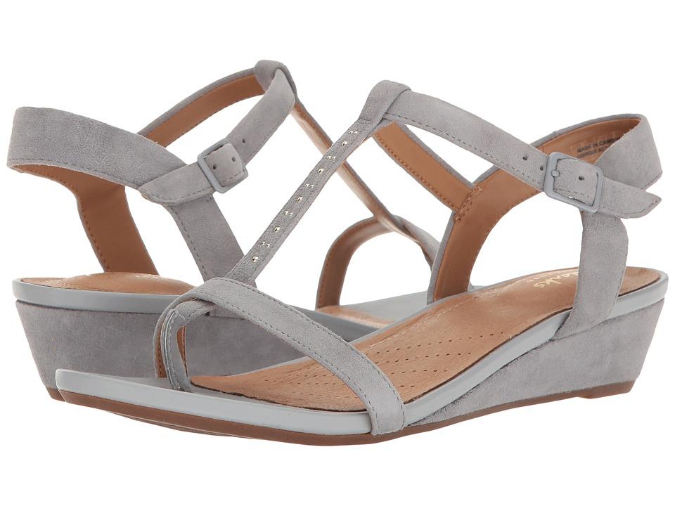 Clarks - Parram Blanc (Grey Blue Suede) Women's Sandals