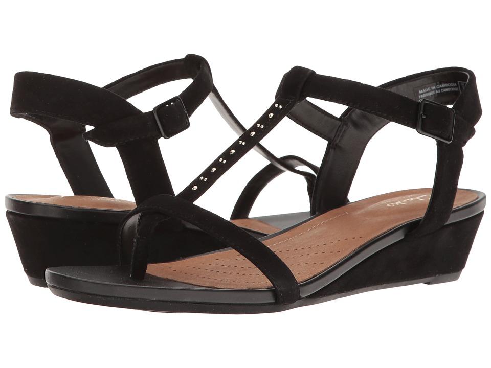Clarks - Parram Blanc (Black Suede) Women's Sandals