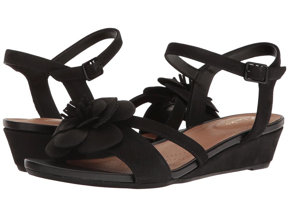 Clarks - Parram Stella (Black Nubuck) Women's Sandals